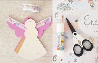habiller l'ange en bois avec du papier paillettes