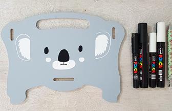boite rangement enfant en bois décorer avec un motif koala
