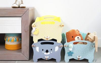 Belle boite de rangement jouet en bois pour une chambre sur le thème : pastel koala !