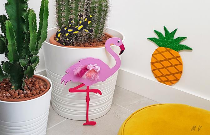 Tuto : une deco ananas flamant rose en bois à customiser très tendance !