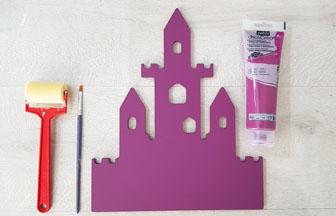grand château en bois à peindre en violet