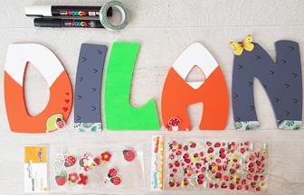 lettres en bois à personnaliser, décoration tendance renard et hérisson