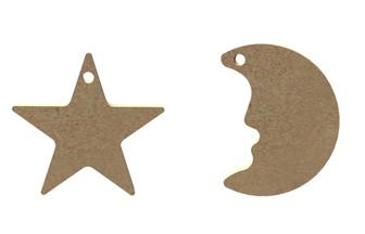 petite lune et étoile en bois à suspendre