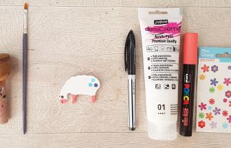 mini mouton percé en bois à peindre