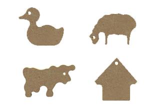 mini formes en bois à customiser thème ferme