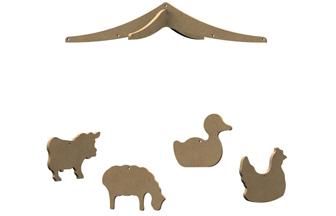 mobile enfant thème ferme animaux en bois à customiser