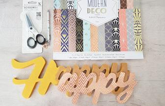 mot happy à customiser en bois avec du papier