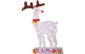 petit renne sur socle en bois à décorer avec des stickers