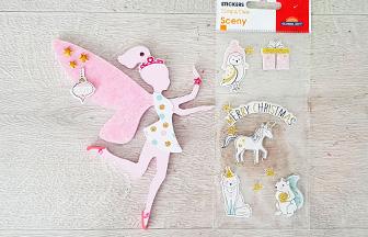 décoration sapin Noël girly avec la fée en bois à personnaliser