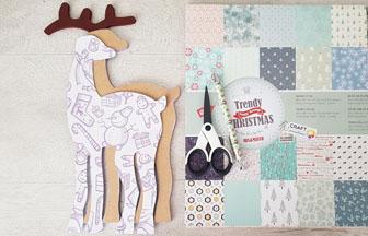 habiller le petit renne en bois avec du papier de Noël