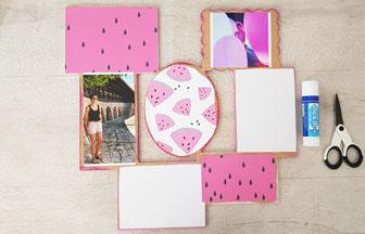 cadre photos en bois habillé avec du papier pastèques