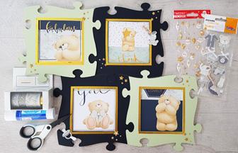 assemblage final des cadres photos enfant en forme de puzzle