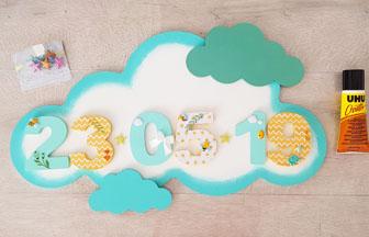 nuages décoratif en bois avec des chiffres