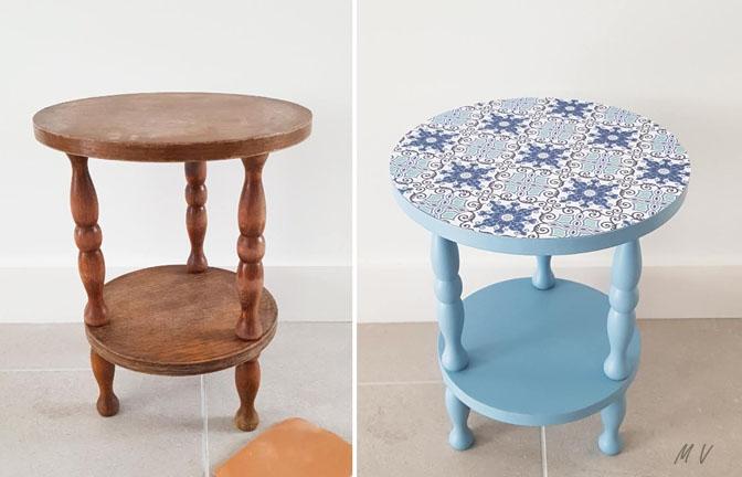 Tutoriel : une renovation meuble ancien peinture guéridon avec des couleurs tendances !