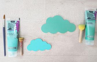 petit et moyen nuages en bois à peindre