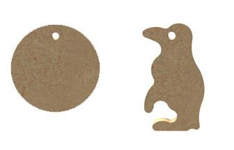 petite boule percé et petit pingouin percé en bois