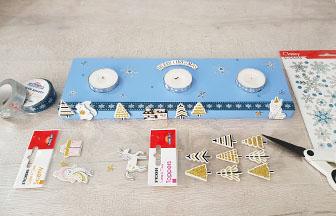 support bougies rectangle en bois décoré avec des stickers