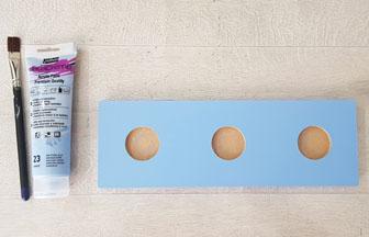 support bougies rectangle en bois peint en bleu pastel