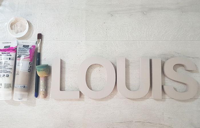 prénom louis en bois à peindre en taupe