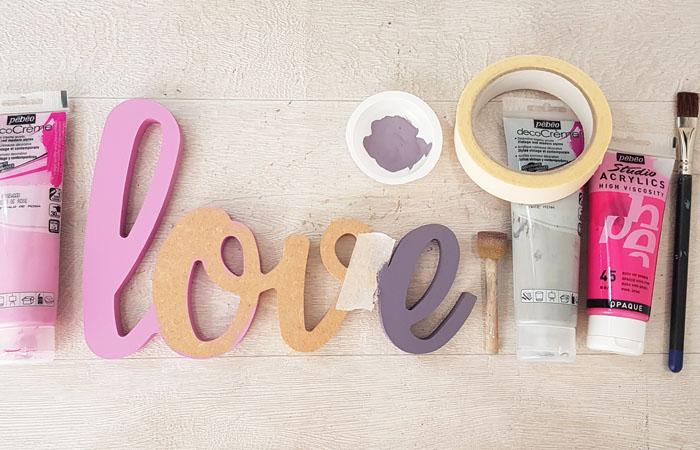 tuto cœurs et mot love en bois à peindre