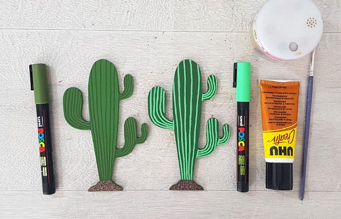 colorier les cactus en bois avec des feutres Posca