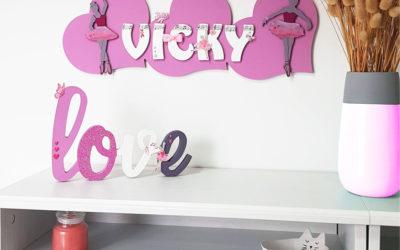 Tuto cœurs avec des lettres et danseuses en bois pour personnaliser une chambre de petite fille !