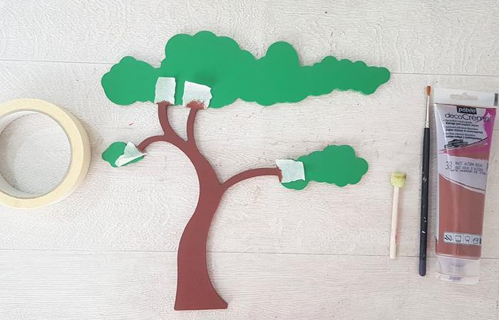 arbre savane en bois à peindre en marron
