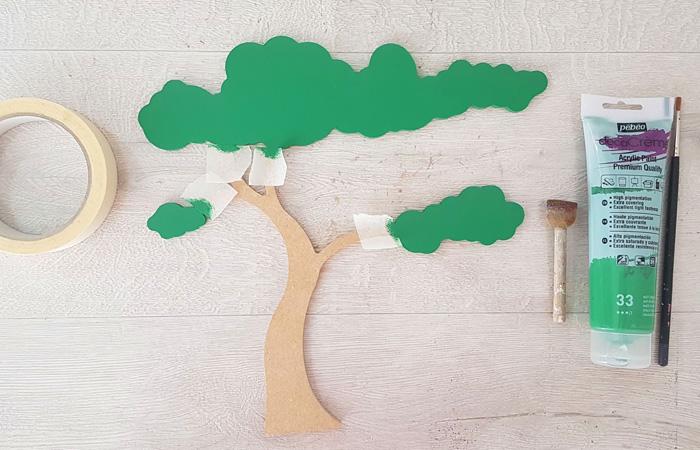 arbre savane en bois à peindre en vert