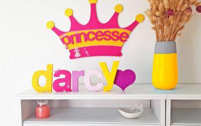 Une déco de princesse, prénom avec lettre en bois à customiser !