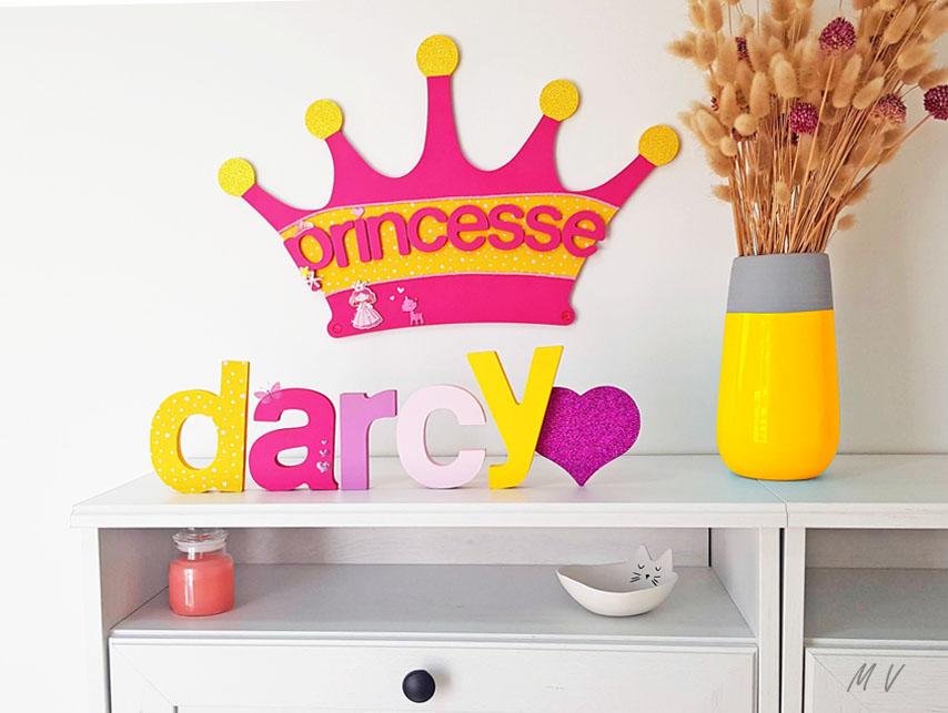 prénom avec lettre en bois pour une chambre de princesse