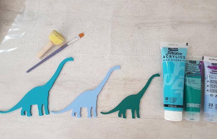 diplodocus et long cou à peindre en bois
