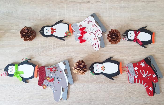 décoration de Noël vintage avec des patins à glace et pingouins en bois