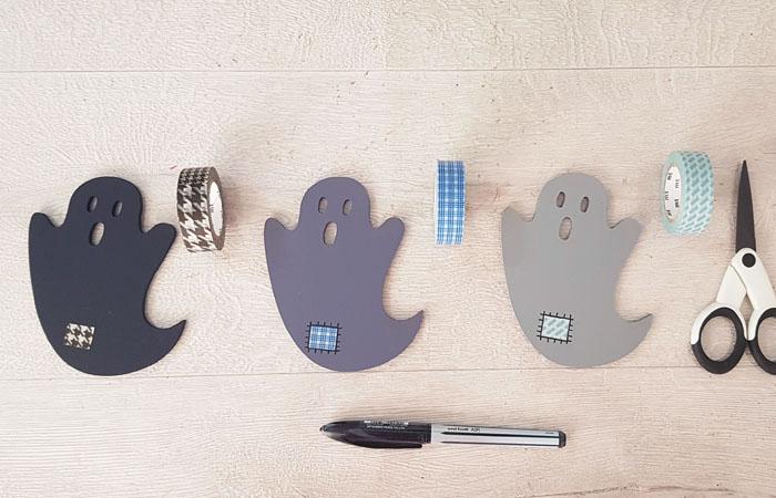 fantôme d'halloween en bois à personnaliser avec du masking tape