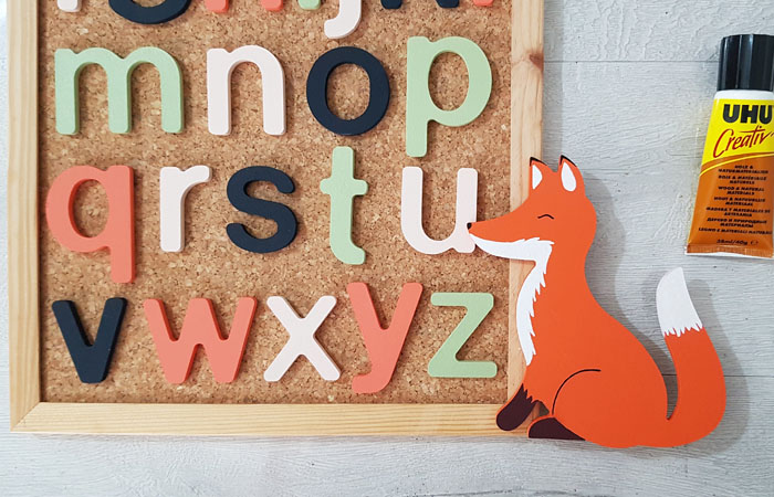 tableau diy alphabet en bois avec un renard à décorer