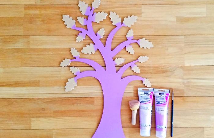 arbre en bois à peindre en violet