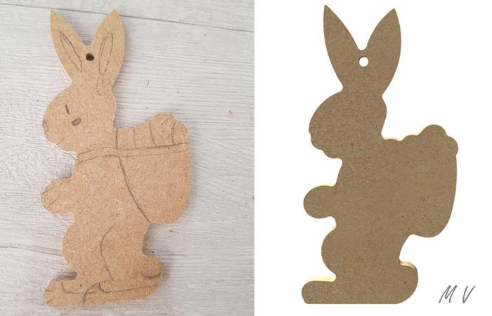 petit lapin avec hotte en bois pour la décoration de table spéciale pâques