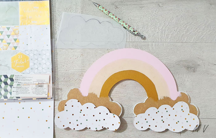 grand arc en ciel décoratif a personnaliser avec du papier