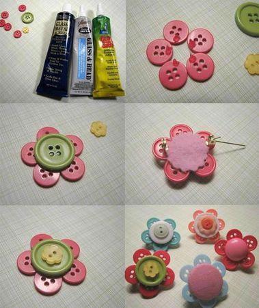 broche fleur DIY en boutons