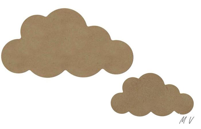 nuages en bois à customiser pour un mur de chambre d'enfant