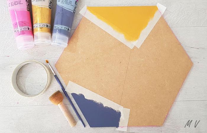 peindre l'hexagone en bois