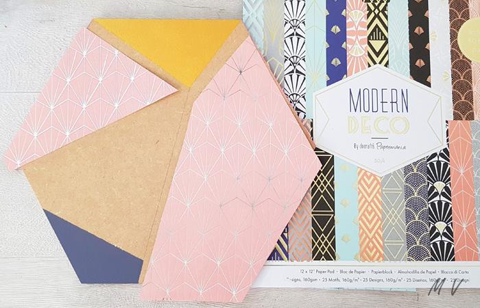 recouvrir de papier l'hexagone en bois