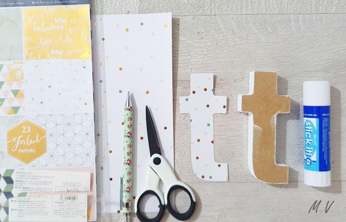 lettre en bois à poser et à recouvrir de papier