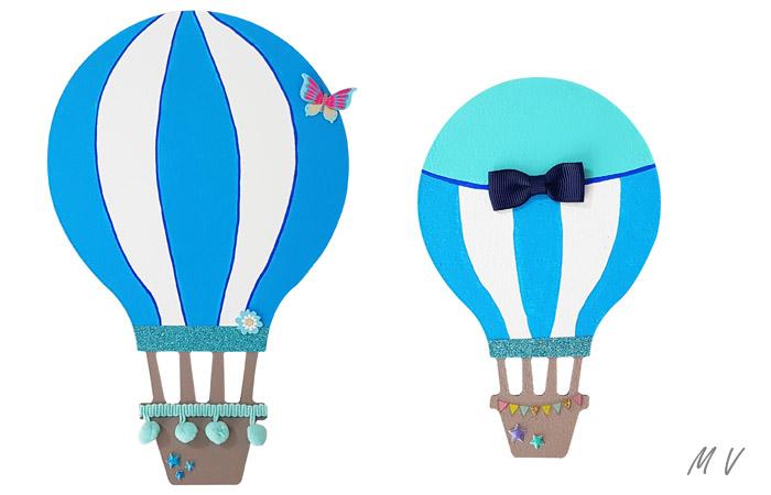 montgolfières à décorer en bleu pour un mur de chambre d'enfant