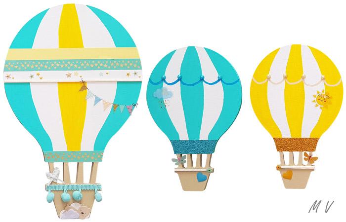 montgolfières en bois à peindre en jaune pour un mur de chambre d'enfant