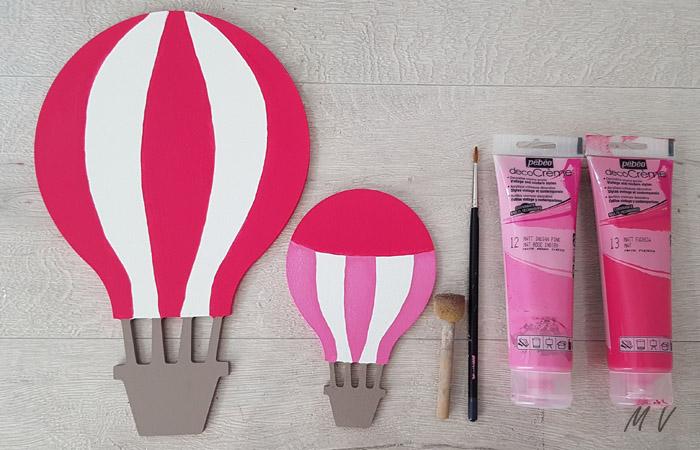 peinture rose pour habiller les montgolfières en bois