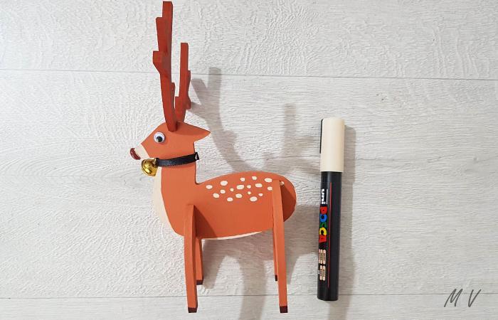 petit cerf 3D en bois pour votre déco de table de Noël