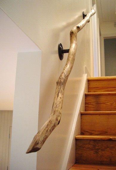 rampe d'escalier en bois flotté