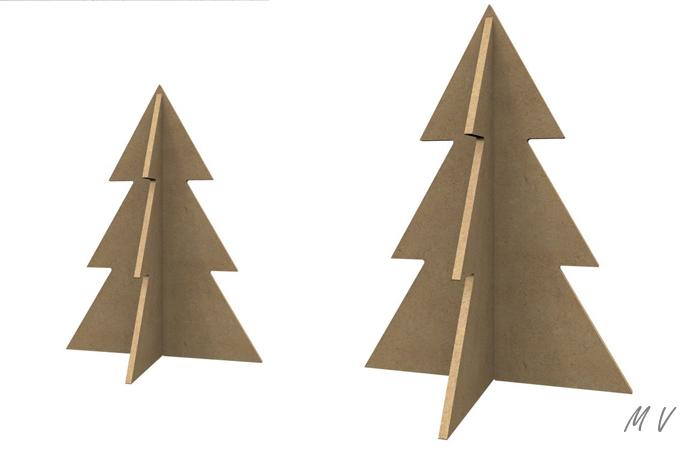 sapins en bois à personnaliser pour votre déco de table de Noël