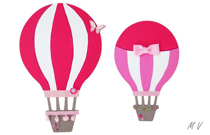 mur de chambre d'enfant avec les montgolfières à peindre en rose