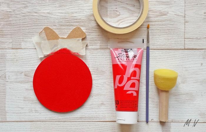 peindre la boule nœud en rouge